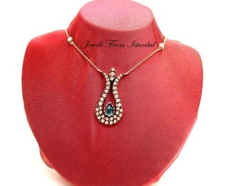 Classic Ottoman Style Tulip Necklace With Rhinestones