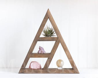Triangle Crystal Shelf | Handmade Wall Shelf for Crystals or Curios, Collection Display, or Wall Decor
