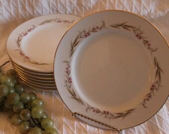 "Set of 8 Prestige Fine China 7.5"" Salad Plates - Cherry Blossom Pattern"