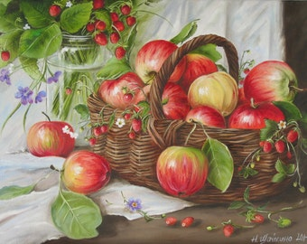 Original Painting Fruits still life Apple painting Oil on Canvas, Fruit basket painting, Summer fruit, Strawberry, kitchen decor wall art