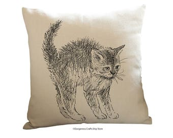 """Cat Drawing Scared Cushion Cover with Cushion Insert Included- 18"""" by 18"""" -"""