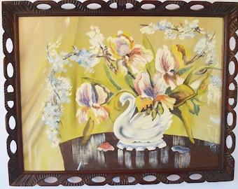 Swan vase with iris signed original tempra painting.