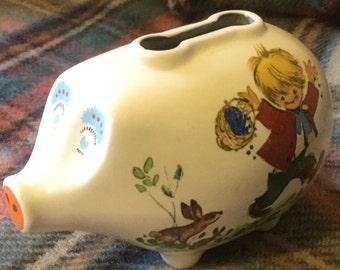 1950s Piggy bank New Devon Pottery