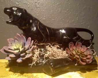 vintage mid-century black panther planter with faux succulents