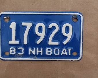 Vintage 1983 New Hampshire Boat License Plate
