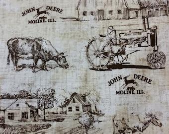 Country Scene John Deere Grocery Bag Holder - John Deere Tractor Shopping Bag Holder - Farm Yard Scene Grocery Bag Holder