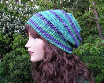 Turquoise Purple Green Summer hat. 100% Acrylic Beane. Handmade Boho Hat. Slouchy Hat. Beach Hat. Vegan Friendly. Gift for her.