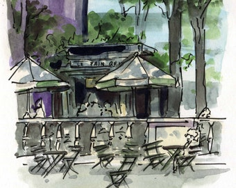 6x6 Original Watercolor Painting - Bryant Park
