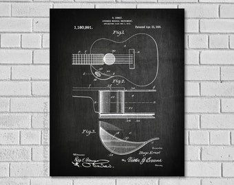 Guitar Gifts - Acoustic Guitar - Guitar Decor - Guitar Wall Decor - Guitar Poster - Guitar Blueprint - Guitar Patent Print - Ernst - MG991