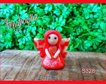 Handmade RED fairy with glow in the dark wings! (Item #S328)