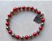 Sale: Red & Silver Stretch Bracelet - Christmas Jewelry - Valentine Jewelry - Festive - Seasonal Jewelry - Disability - Heart Jewelry - Stre
