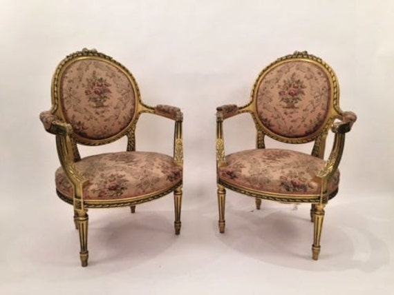 Gilded Pair of French Louis XV Carved Decorated Open Arm Chairs