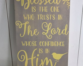 "11"" x 20"" wooden sign with Bible verse."