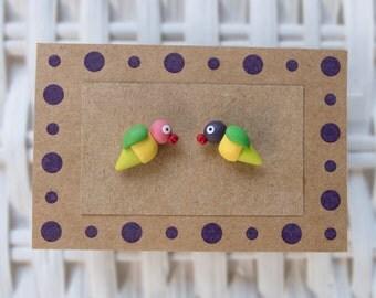 Valentines Day Earrings, Lovebird Earrings, Lovebird Polymer Clay Stud Earrings, Parrot Earrings, Valentines Stud Earrings, Parrot Stud