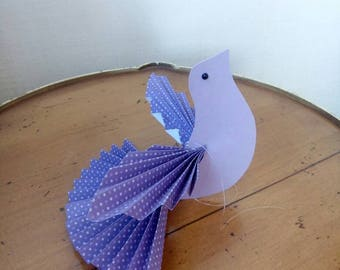 Colorful birds placeholder/peace doves with customizable name/birth/wedding favors