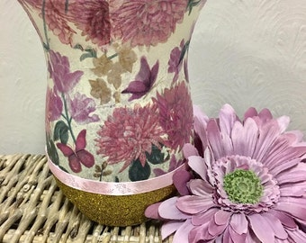 vase, candle holder, flower candle holder, flower vase, glitter, gold, pink, pink candle holder, pretty, pretty home decor, home decor