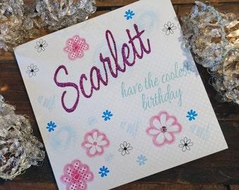 Personalised Birthday Card - Flowers Design P16-65