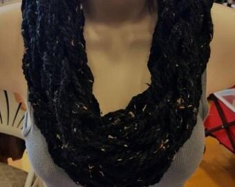 Black Speckled Arm Knit Infinity Scarf