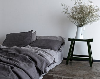 100% Pure Linen 4pc Duvet Set - Stone Washed Charcoal Bedding with Pillow Cases & Fitted Sheet