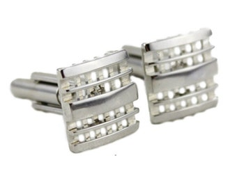 Vintage Silver Cuff Links, Large Silver Cuff Links, Silver Square Cuff Links