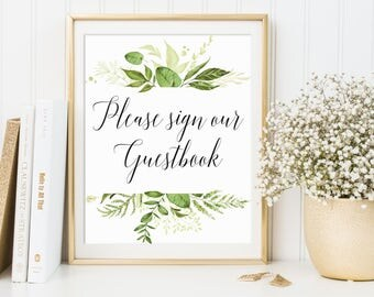 Please Sign Our Guestbook Sign, Wedding Guestbook Printable, Wedding Guestbook Sign, Greenery Guestbook Sign, Greenery Wedding Decor