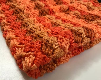 Soft Crocheted Blanket - All about the Orange - Many Sizes Available