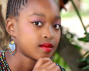 African Chandelier Earrings- Light blue