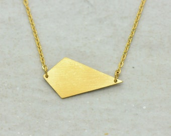 Kite Necklace, Brushed 24k Gold Plated Stainless Steel, Dainty Minimal Geometric Layering Layered Long Necklaces