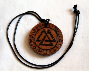 Valknut, wooden pendant, viking necklace, carved with a protection rune, Odin symbol, lucky charm, talisman, amulet
