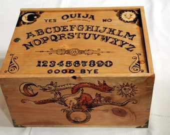 Wooden box, carved with magic pattern, occultism, spirituality, tarot card, ouija, alchemy, kabbala, chiromancy, gothic, stotage box, chest
