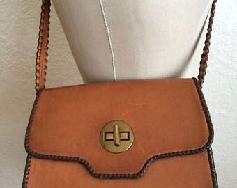 Vintage 50's Caramel Leather Shoulder Bag with Marbled Leather Interior.