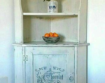 Corner Cabinet Hand Painted, French Rustic