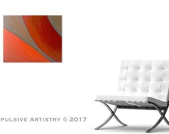 Retro, Acrylic Abstract Painting, Colors: Orange, Red, Grey.