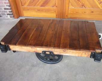 Factory Cart coffee table Renovated Vintage Lineberry K16064
