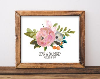 Custom Wedding Gift - Custom Couple Sign - Wedding Date Print - Personalized Wedding Gift - Gift For Newlyweds - Digital Download - 8x10