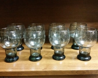Set Mid Century Modern Drink Glasses Goblets Kitchen Taupe Tumblers