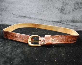 Vintage Leather Belt Handmade/Natural Leather Belt/Hand Decorated Belt/Brass Buckle Bel/Handmade Leather Belt
