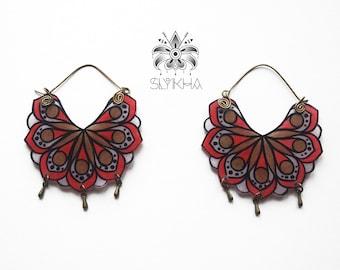 Gypsy earrings fluorescent mandala lotus Collection Vati