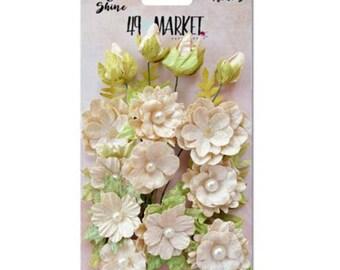 49 & Market Shimmer Shine Ivory Melange - 49 And Market Ivory Melange Flowers - Ivory Scrapbook Flowers - Ivory Cream Embellishment Flowers