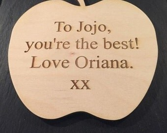 Personalised wooden apple