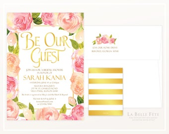 BE OUR GUEST Beauty and the Beast Enchanted Rose shower invitation with pink / blush watercolor roses and gold and stripes