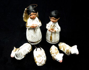 20% OFF *** VINTAGE: Chalkware Nativity Set of 6 - Mexican Fold Art - Feather Tree Nativity - Christmas Decor - (15-C2-00007083)