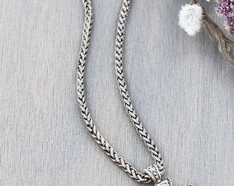 Two Tone Cross Wheat Chain Necklace