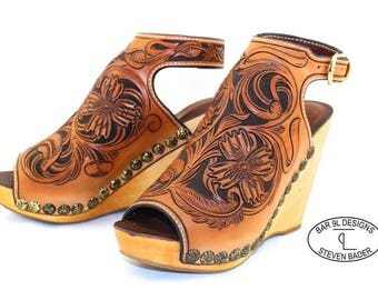 Hand Tooled Leather Recycled Wedge Sandal