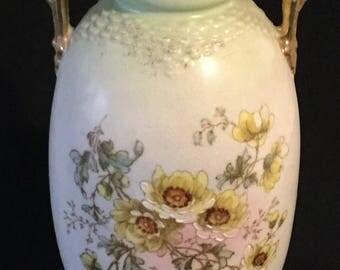 Victorian Austria Ceramic Floral Handled Vase