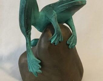 Vintage Verdigris Frog Perched On Rock Metal Figurine