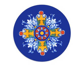 Flores Romanescos - Talavera tile sticker seals - 1.5 inch round stickers - pack of 8