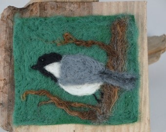 Needle felted chickadee in a tree