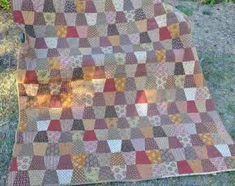 Tumbling Tans, finished reproduction patchwork quilt