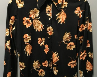 Vintage 1970s Bernard Cowan Black Flowered Shirt - Size 7/8